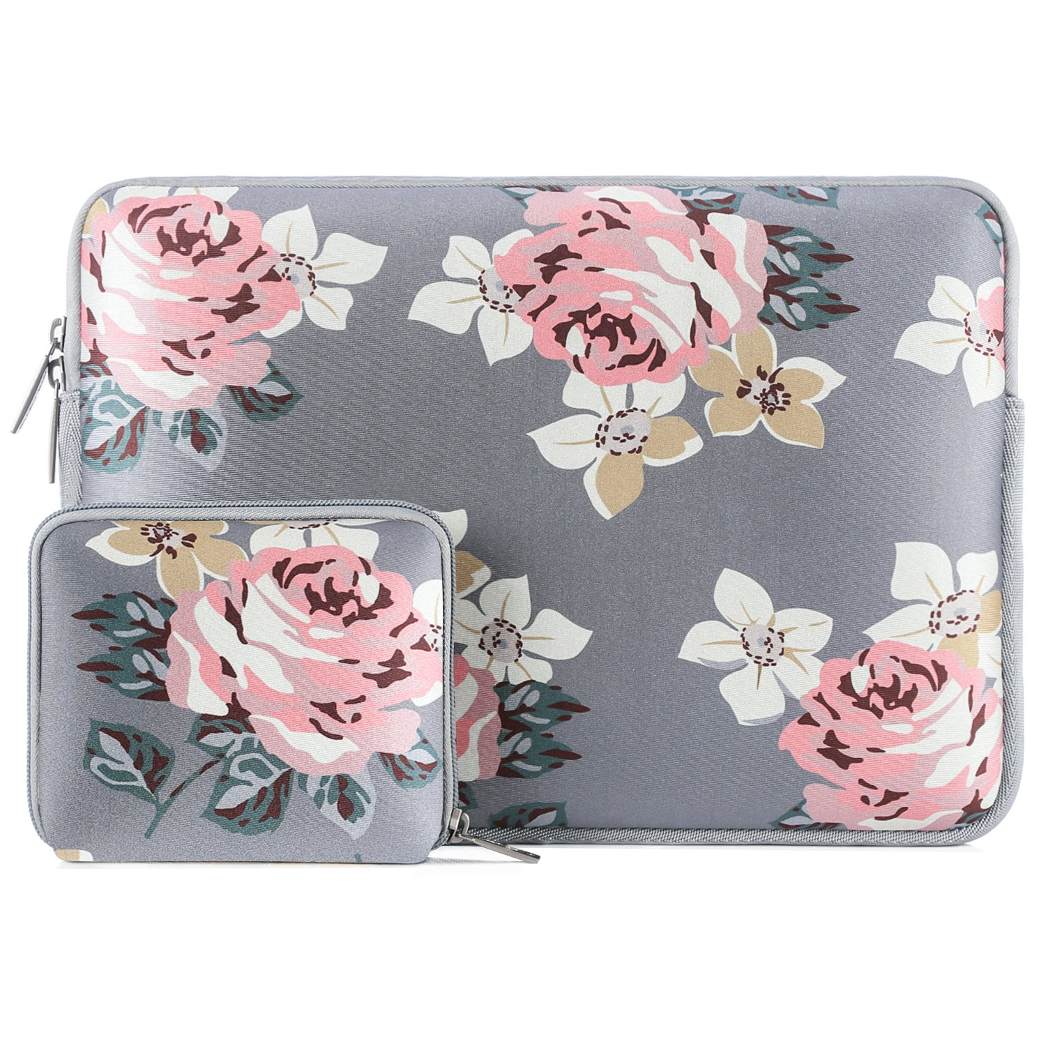 MOSISO Laptop Sleeve Compatible 13-13.3 Inch MacBook Pro, MacBook Air, Notebook with Small Case, Water Repellent Lycra Rose Pattern Protective Carrying Bag Cover, Gray