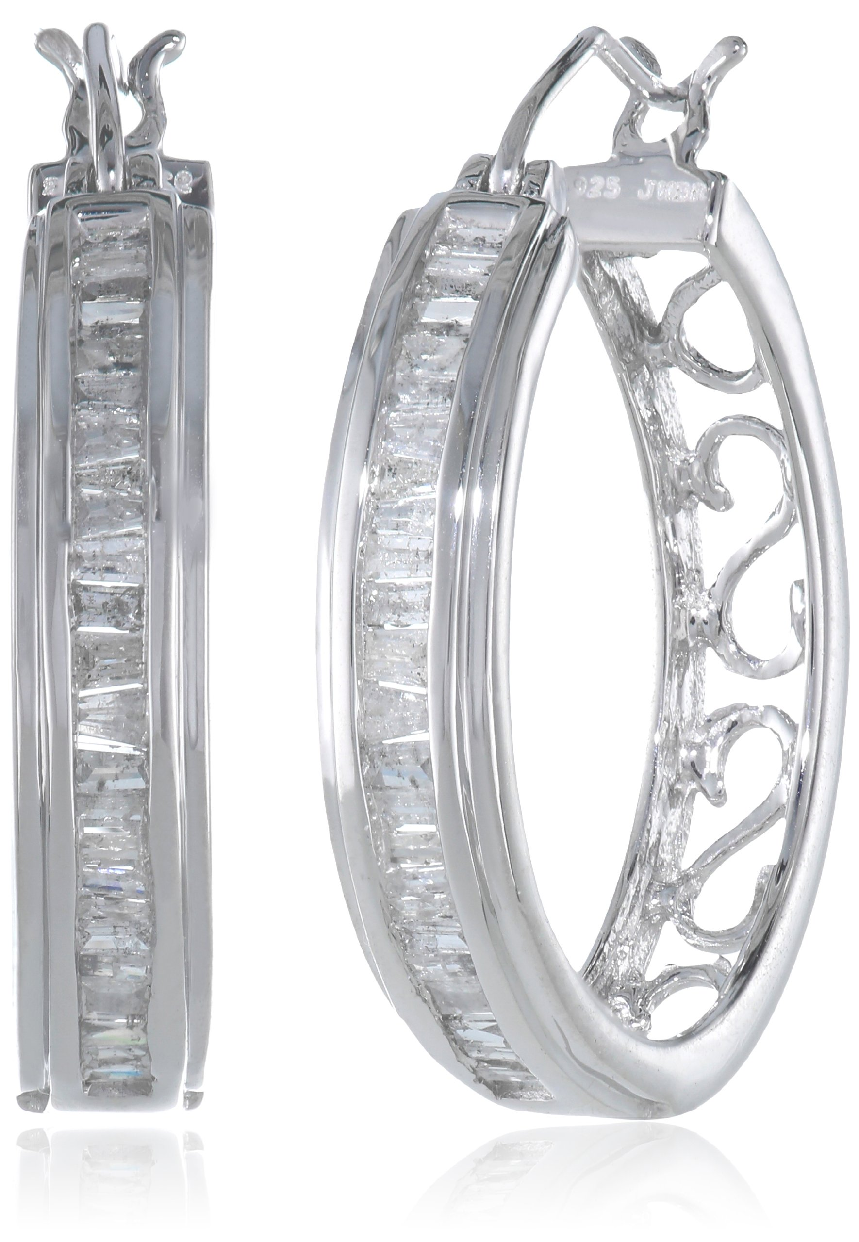 Sterling Silver Diamond Hoop Earrings (1/2 cttw) by Amazon Collection (Image #1)