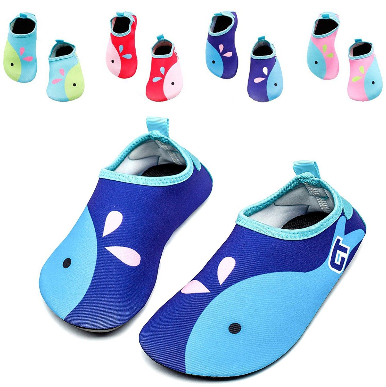 Kids Swim Water Shoes Girls Boys Lightweight Barefoot skin Shoes Mutifunctional Beach Pool Aqua Socks for Toddler Little Kid and Big Kid (Navy-20/21)