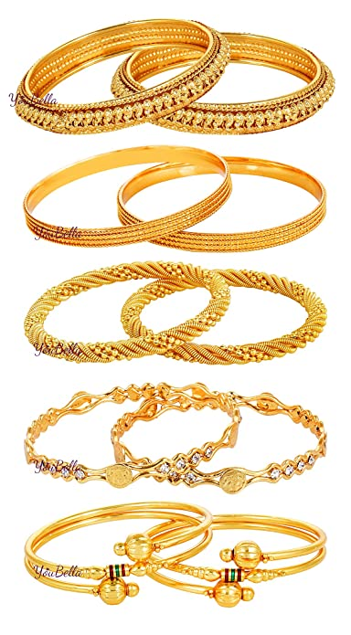 ee1b914e2f67d YouBella Gold Alloy Combo Of 5 Bangle Set For Women  Amazon.in  Jewellery