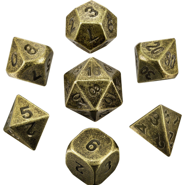 Hestya 7 Piè ces Dé s en Mé tal Set DND Jeu Polyhedral en Mé tal Solide D&D Dé s Set avec Sac de Rangement et Alliage de Zinc avec Enamel (Bronze)