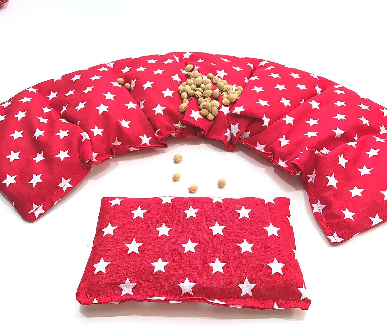 Kirschkernkissen, Lila Sterne 2 er Set 66 x 17 cm kleines Kirschkernkissen 11 Farben K/örnerkissen W/ärmekissen XXL K/ältekissen