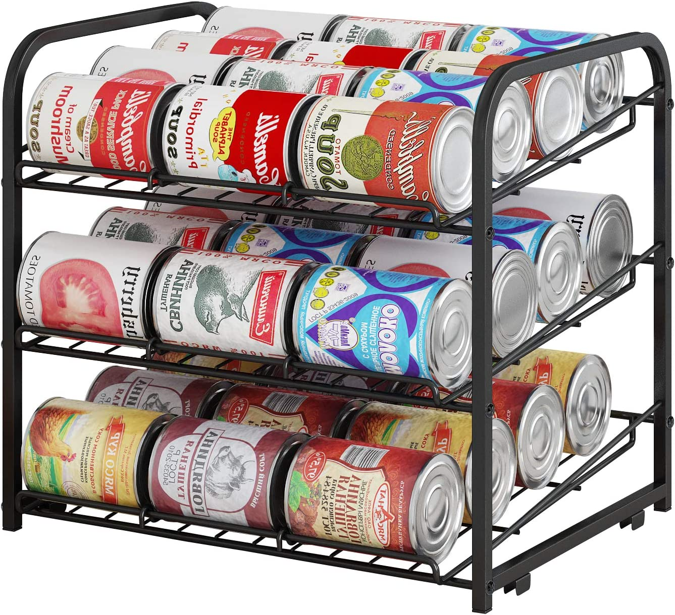 AIYAKA 3 Tier Stackable Can Rack Organizer,for food storage,kitchen cabinets or countertops,Storage for 36 cans,Black