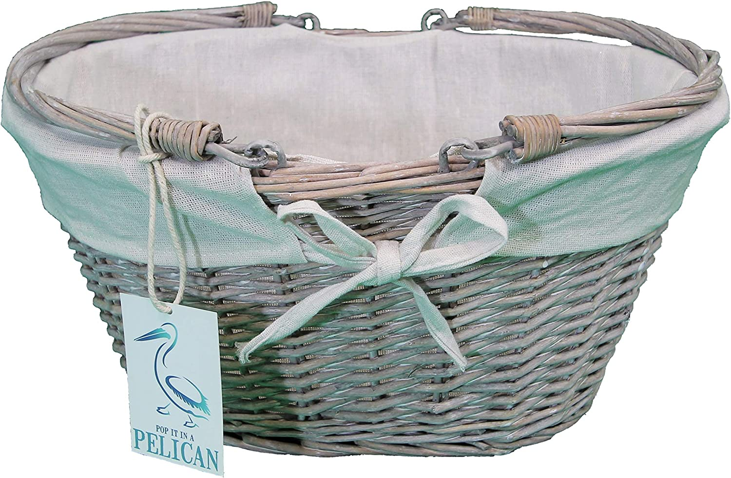 wedding or baby shower parties Empty storage Great for Gifts Christening Pop-it-in-a-Pelican Grey White and Natural Wicker lined basket with drop handles