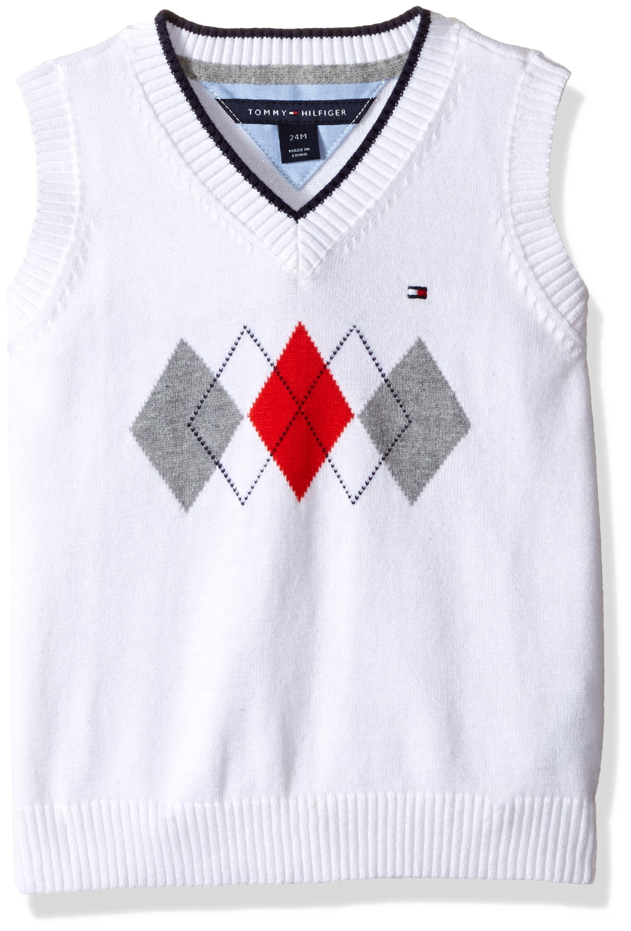 Tommy Hilfiger Baby Boys' Henry Sweater Vest, White, 18 Months