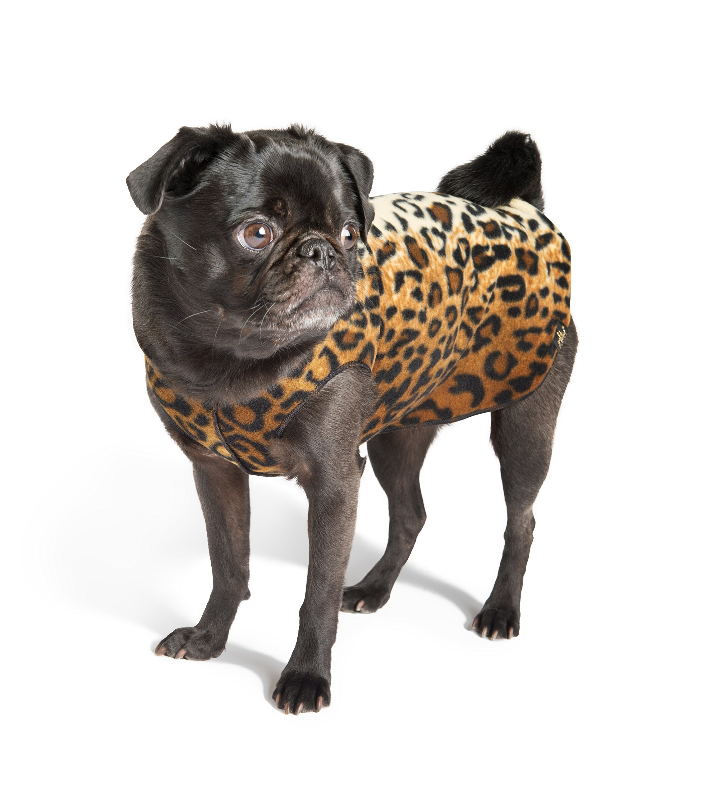 Gold Paw Stretch Blue Fleece Dog Coat – Soft, Warm Dog Clothes, Stretchy Pet Sweater – Machine Washable, Eco Friendly – All Season – Sizes 4-33, Leopard, Size 12