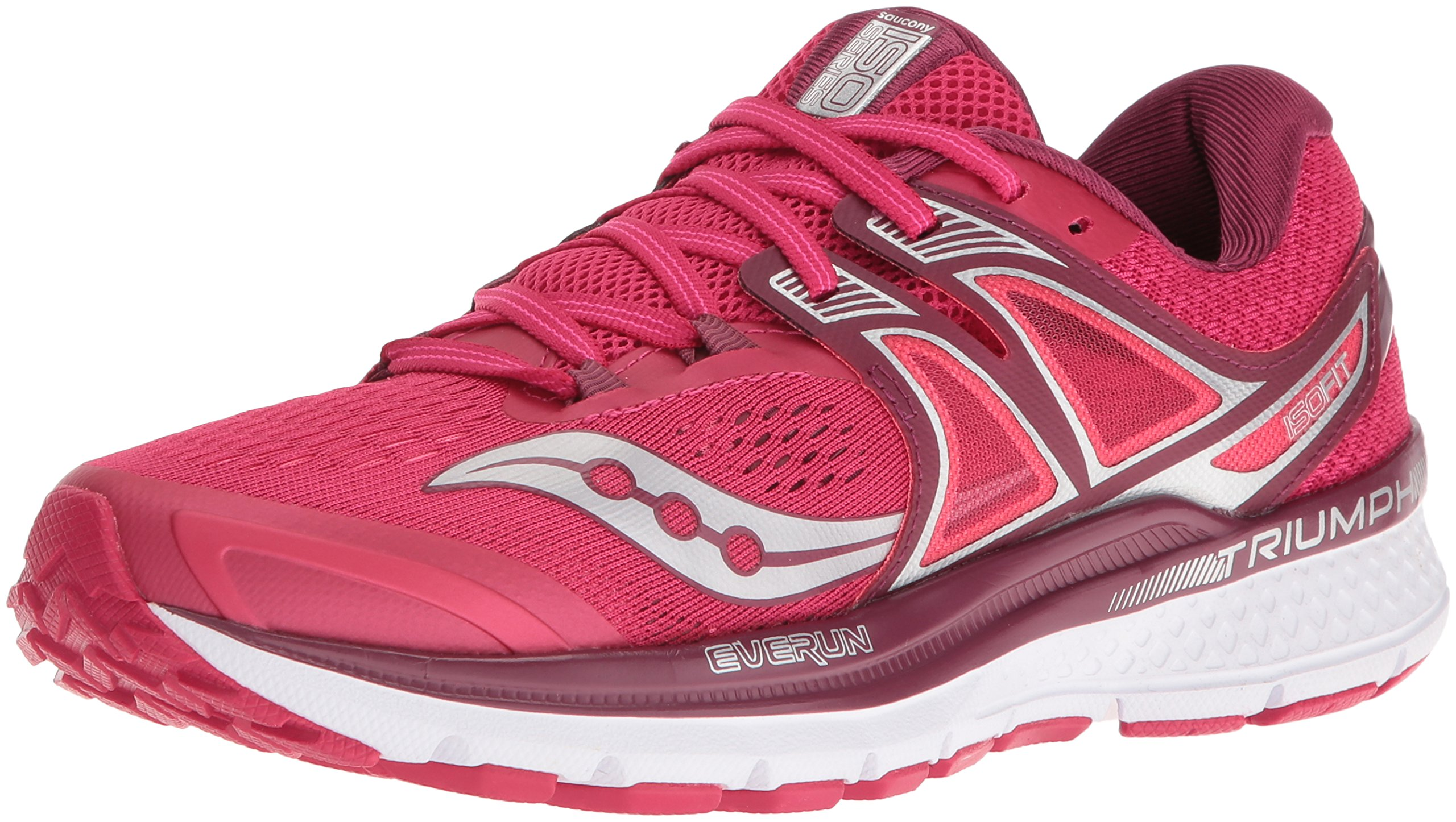 Saucony Women's Triumph Iso 3 Running Shoe, Pink/Berry/Silver, 7.5 M US