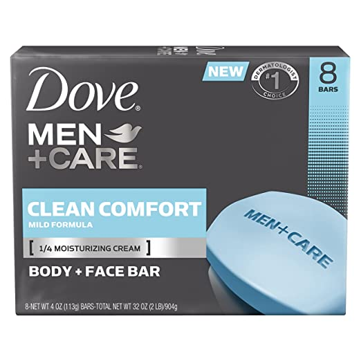 Dove Men+Care Body and Face Bar, Clean Comfort, 4 oz, 8 Bar, Packaging may vary.
