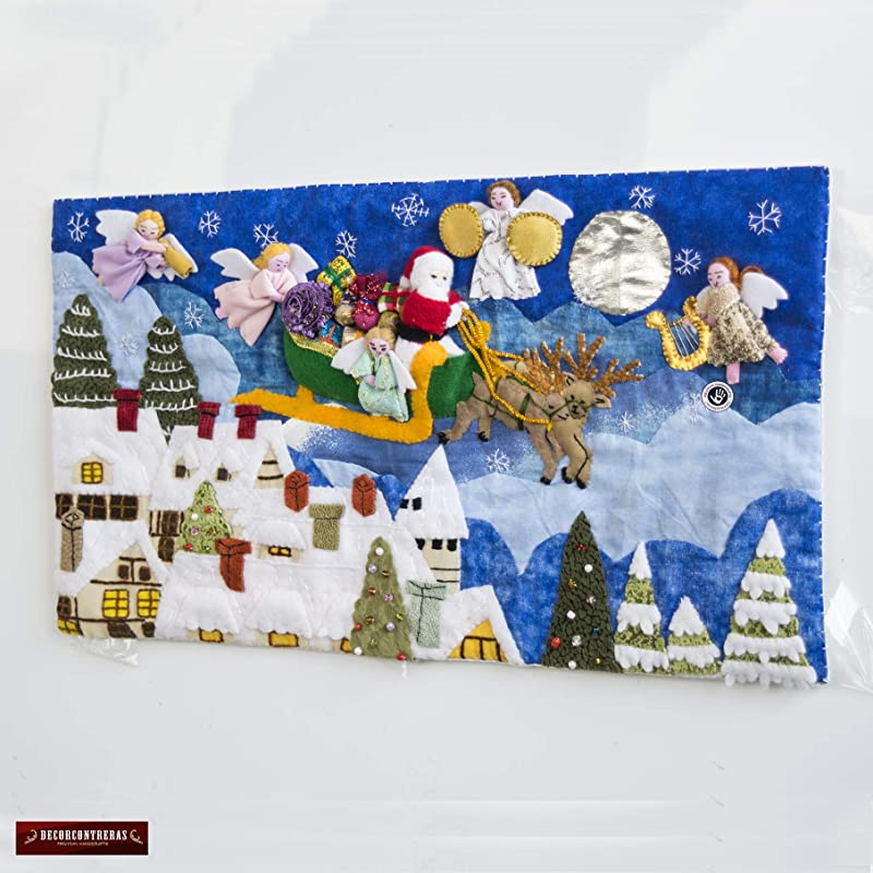 Amazon Com Quilted Christmas Wall Hanging 10 H From Peru Arpillera Patchwork Christmas Decor Applique Fabric Holiday Wall Decor Nativity Scene Handmade
