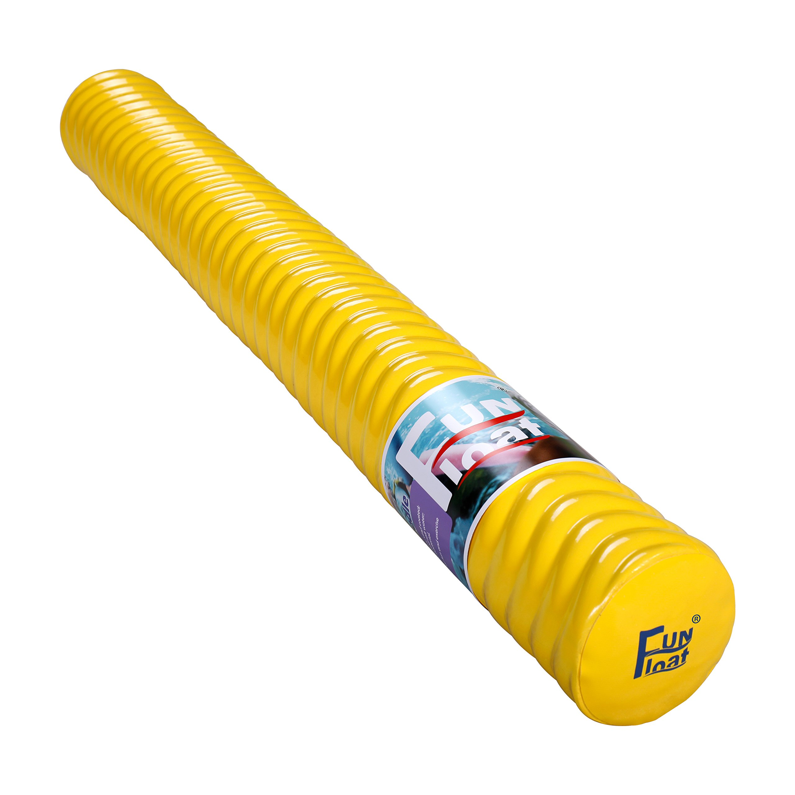 Fun Float Swimming Pool Noodle, Soft Closed-Cell Memory Foam, Vinyl Coated, Unsinkable, Strong Buoyant Power, Fun in Water Lake River Pool as Swimming Floating Toy Equipment Yellow by Fun Float