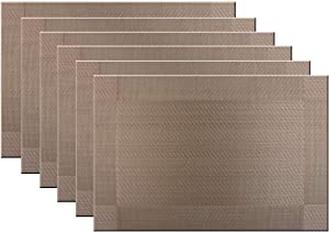 Bright Dream Placemats Washable Easy to Clean Coffee PVC Placemats for Kitchen Table Stain-Insulation Woven Vinyl Colourfull Table Mats 12x18 inches Set of 6(Champagne)