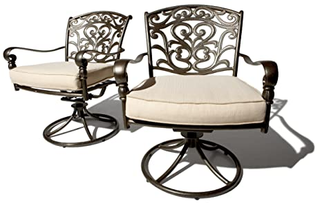 Strathwood St. Thomas Cast Aluminum Swivel Dining Arm Chair, Set Of 2