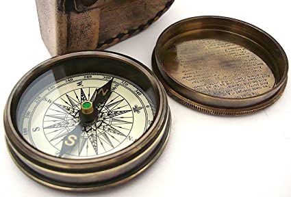 with device THORINSTRUMENTS Robert Frost Brass Poem Compass-Pocket Compass w Leather Case