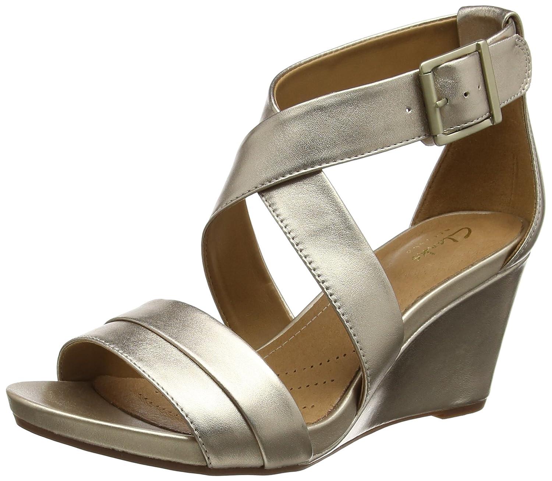 Buy Clarks Women?s Acina Newport Open Toe Wedge Sandals Gold