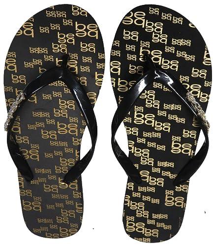 be15e81c6d0e8 bebe Women s Flip Flop Thong Black  Gold (9)