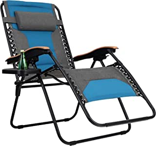 PHI VILLA Oversize XL Padded Zero Gravity Lounge Chair Wide Wood Armrest Adjustable Recliner with Cup Holder, Support 350 LBS (Aqua)