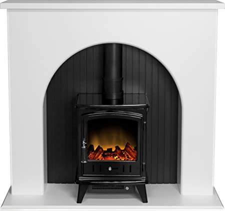 Adam Kirkham Stove Suite In Pure White With Aviemore Electric