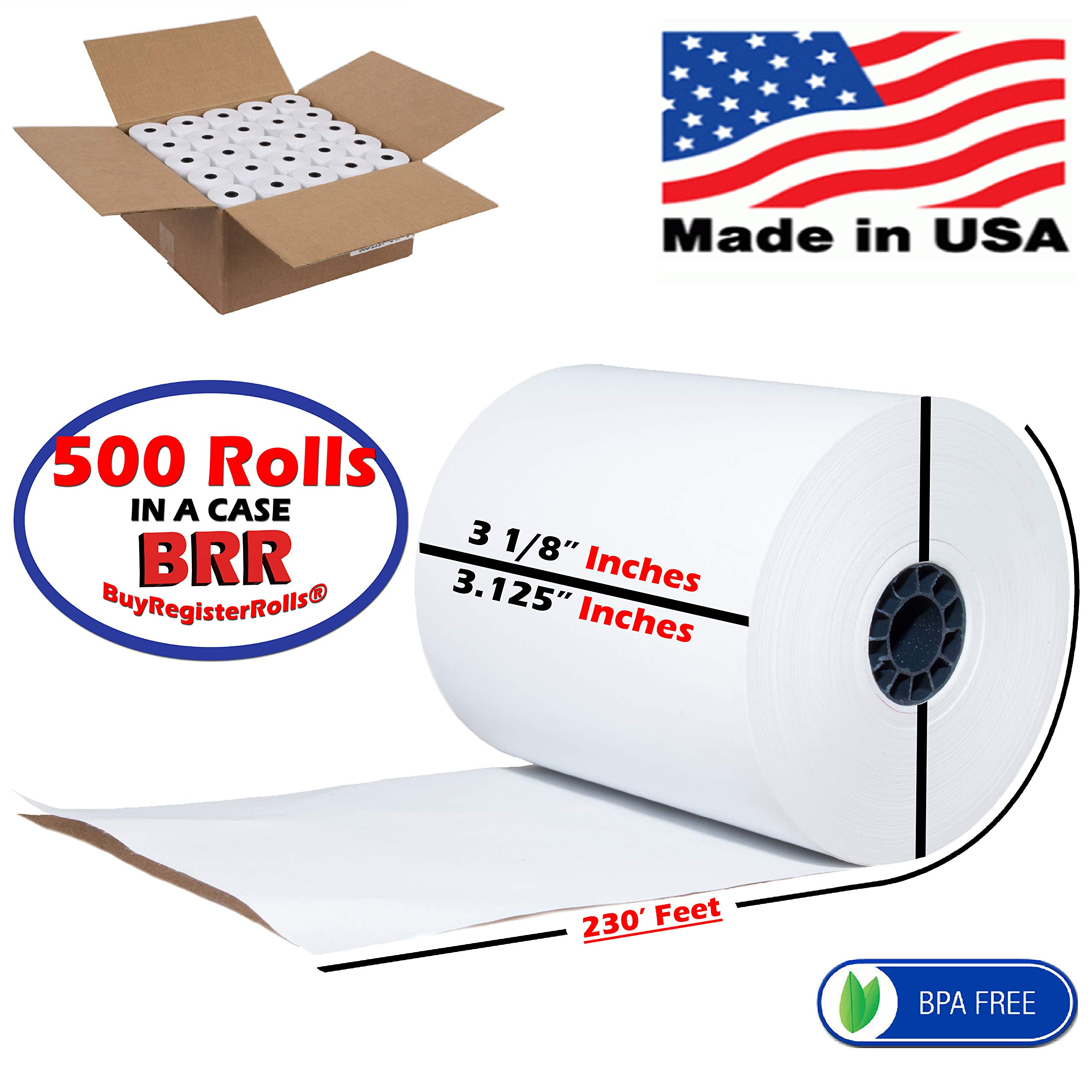 3 1/8 x 230 Thermal Paper roll 500 Pack | More Paper Than Others | Super Saver Value Pack | BPA Free Cash Register Rolls - from BuyRegisterRoll