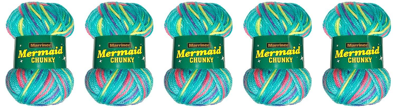Marriner Mermaid Chunky Knit 100G | 100% Acrylic Yarn/Wool (Carnival, 10 Ball Pack)