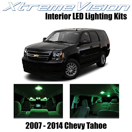 img buy XtremeVision Interior LED for Chevy Tahoe 2007-2014 (12 Pieces) Green Interior LED Kit + Installation Tool