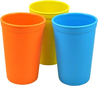 product image for Re-Play 3pk - 9oz. Drinking Cups   Made in USA from Eco Friendly Heavyweight Recycled Milk Jugs - Virtually Indestructible   for All Ages   Orange, Yellow, Sky Blue   Spring