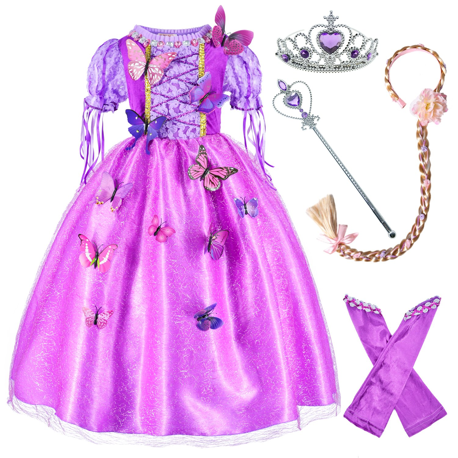 Long Hair Rapunzel Princess Costume For Girls Party Dress Up With Long Braid and Tiaras Set Age of 4-5 Years(110cm)