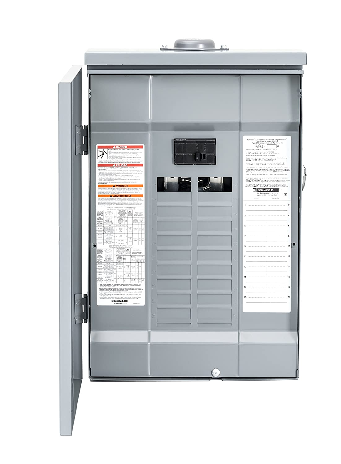 Square D by Schneider Electric HOM2040M100PRB Homeline 100 Amp 20-Space 40-Circuit Outdoor Main Breaker Load Center (Plug-on Neutral Ready),