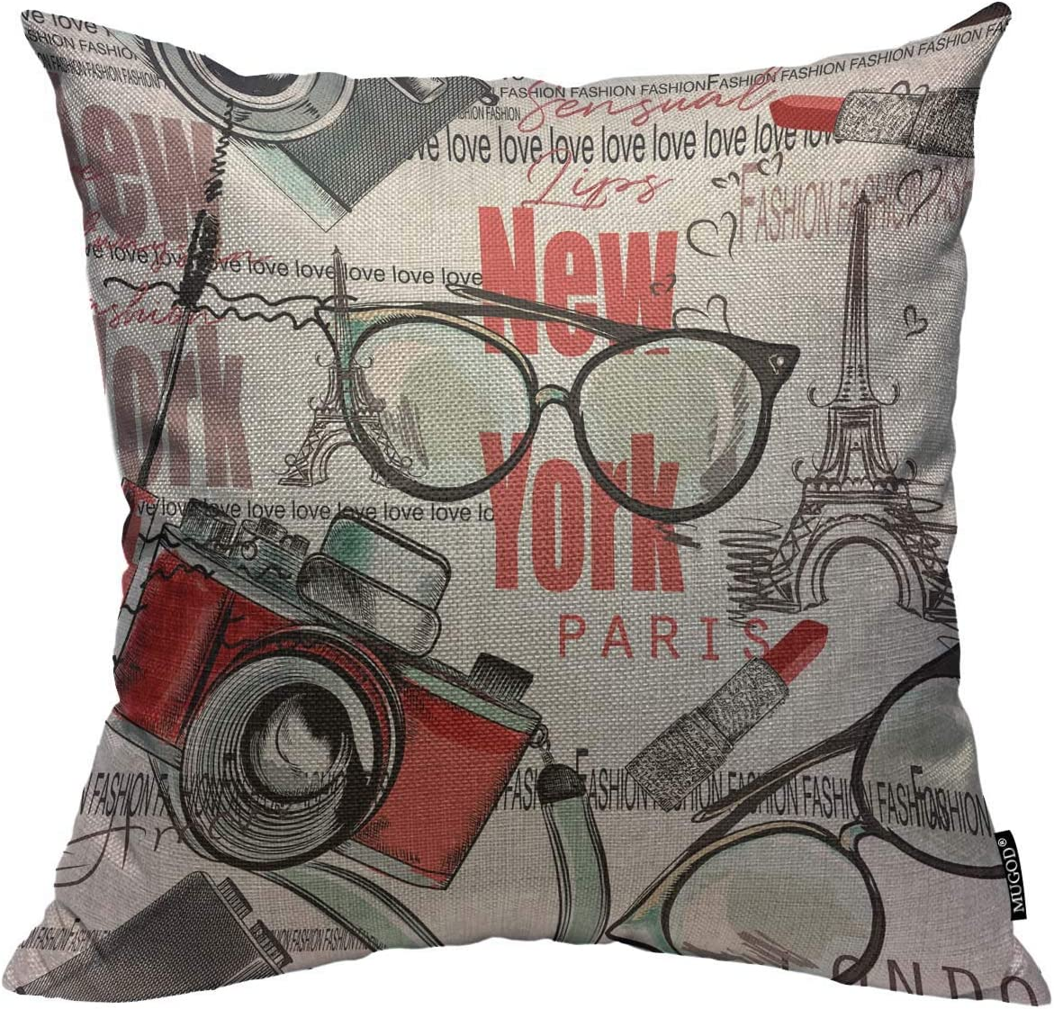 Amazon Com Mugod Fashion Vector Pattern Throw Pillow Cover Lipstick Camera Glasses Words New York London Paris Decorative Square Pillow Case For Home Bedroom Living Room Cushion Cover 18x18 Inch Home Kitchen