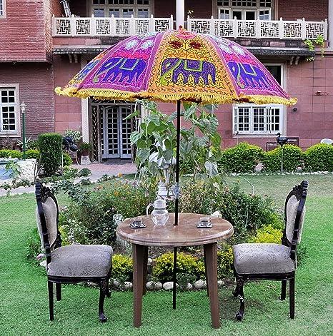 Lalhaveli Elephant Embroidery Decorated Cotton Garden Umbrella 52 X 72 Inches
