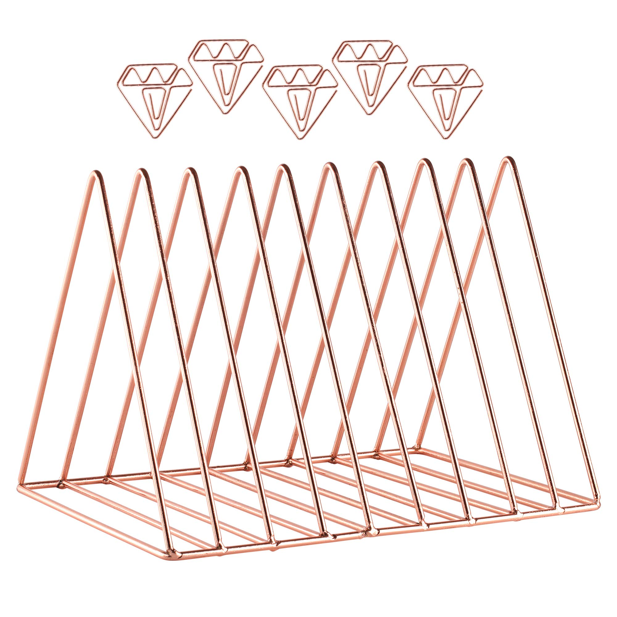 Rose Gold Office Supplies Magazine Rack and Diamond Paper Clips