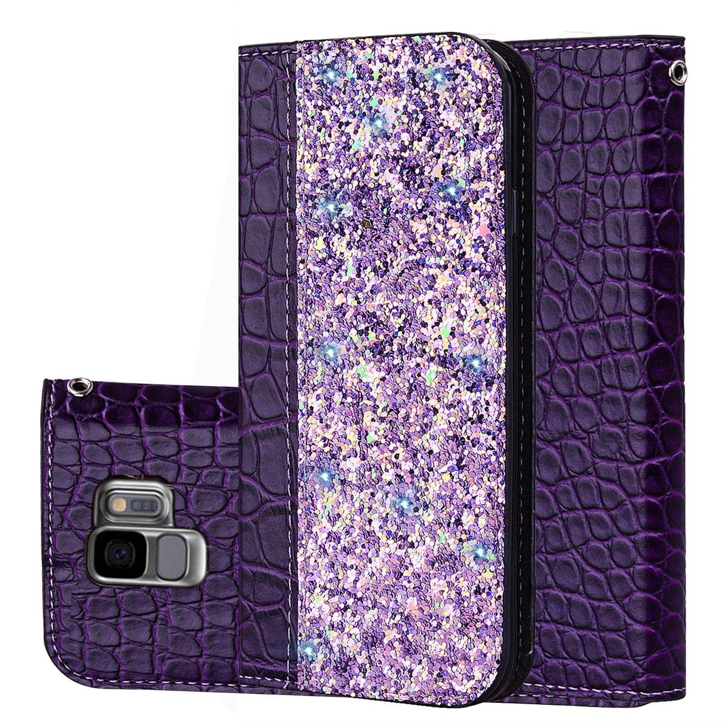 Kucosy Glitter Case for Galaxy S9, Luxury Bling Glitter PU Leather Wallet Case Ladies Girls Sparkle Flip Folio Cover Bumper Case Backcover Soft Flex TPU Inner Shockproof Case for Galaxy S9 (Purple)