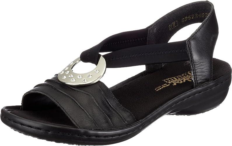 Rieker Damen 60823 Offene Sandalen mit Keilabsatz, Schwarz 7k8mq