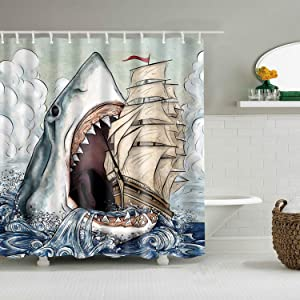 COLORPAPA Cartoon Decorative Shower Curtain Freehand Shark Eat The Ship in Ocean Sea with Cloud Waterproof Polyester Fabric Bath Curtain with 12pcs Hooks