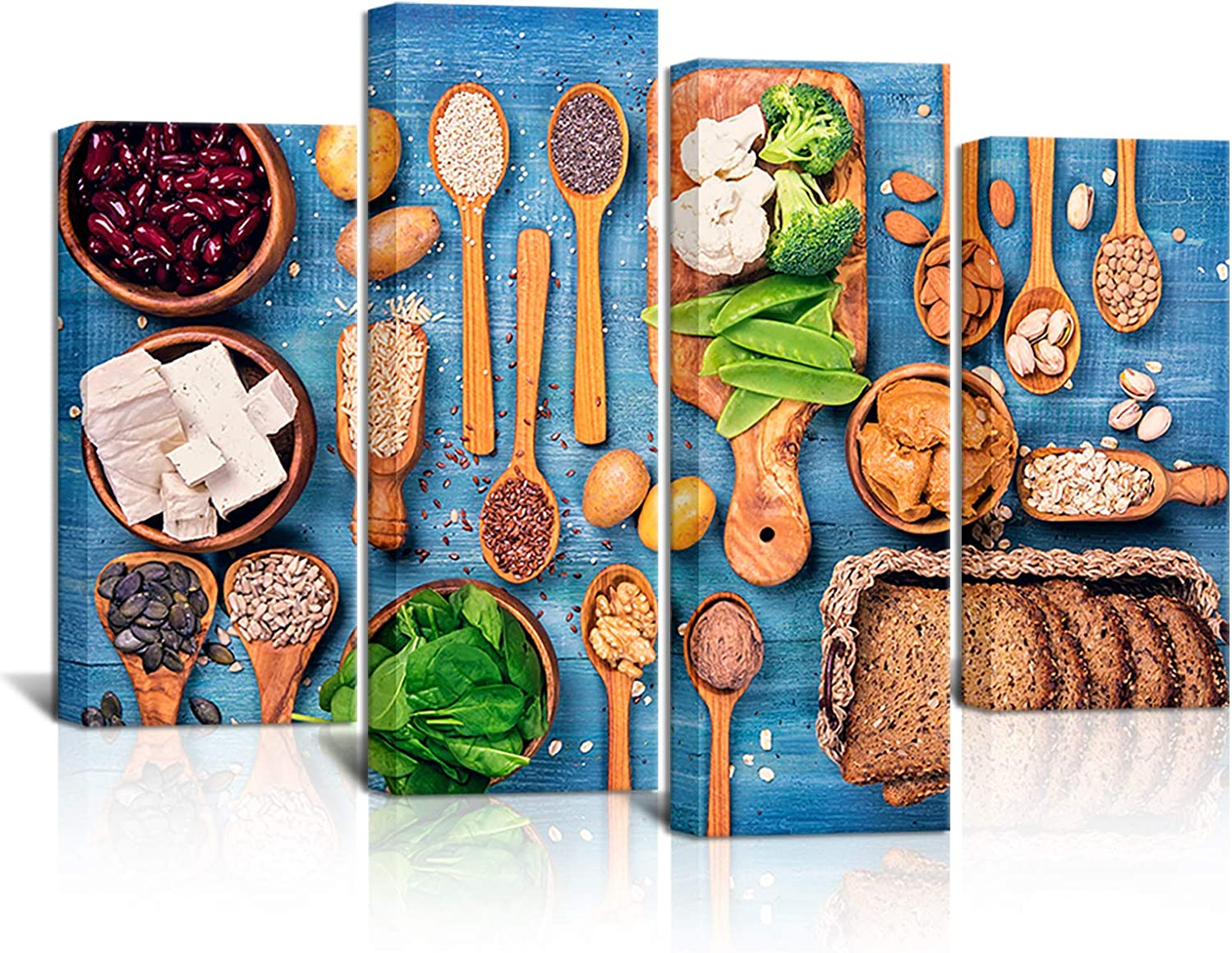 KLVOS 4 Piece Kitchen Pictures Wall Decor Healthy Vegetable and Grain Food Canvas Wall Art Painting Print on Blue Wooden Table Modern Dining Room Home Art Decor Stretched and Framed Ready to Hang