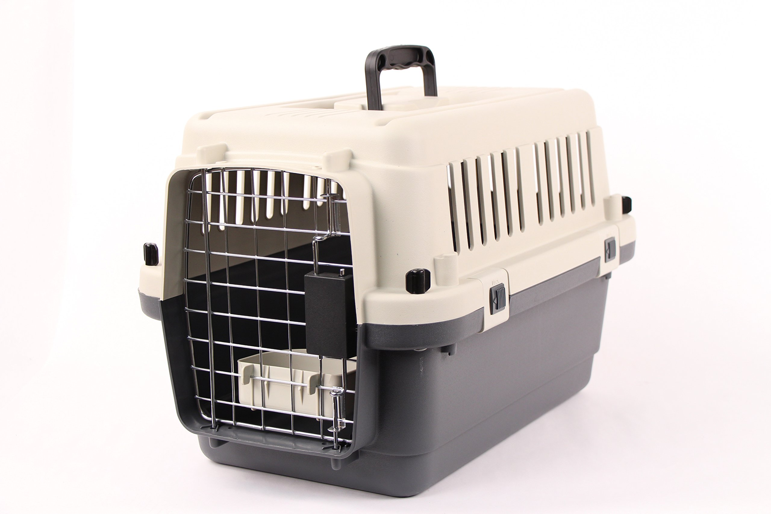 Pet Kennel Direct 24'' Airline Approved Plastic Dog / Cat Pet Kennel Carrier or Air Travel with Chrome Door and Free Cup Foldable Dog Travel Crate