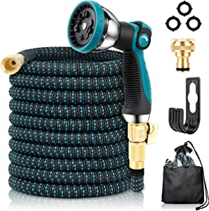 Garden Hose Expandable Water Hose with10 Function Spray Nozzle, Leakproof Expanding Flexible Outdoor Yard Hose with Solid Brass Fittings, Extra Strength 3750D Durable Car Wash Hose Pipe(15m/50ft)