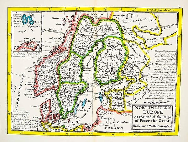 1944 Print Map Northwest Europe Peter Great Reign German Ocean ...