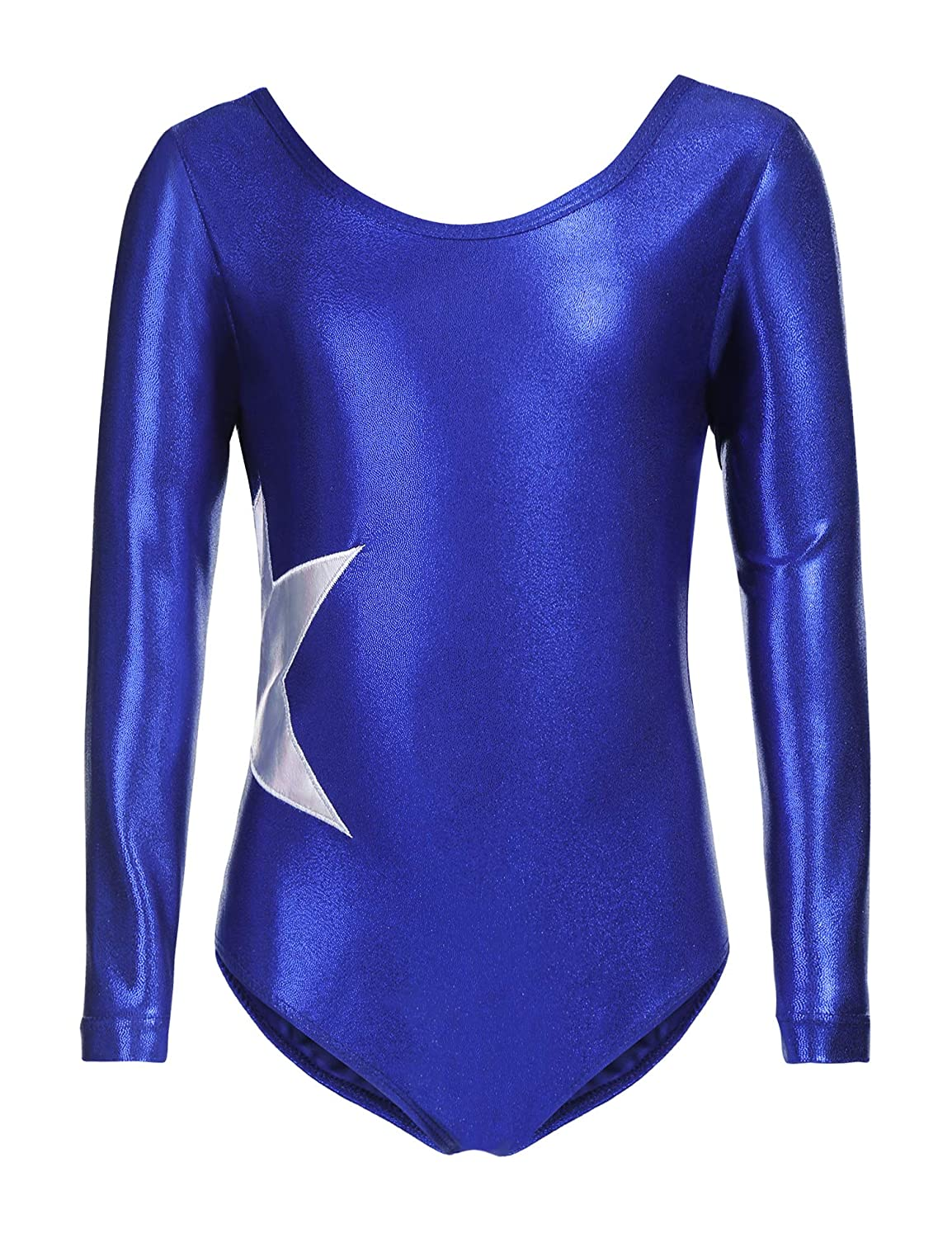 Arshiner Girls Gymnastic Ballet Athletic Clothes Long Sleeve Solid Sparkle Leotard