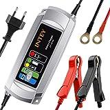 Batterieladegerät INTEY Vollautomatisches Batterieladegerät Autobatterie Ladegerät (Motorrad und KFZ) Batterien-Winter Batterieschutz 6/12 V 5A