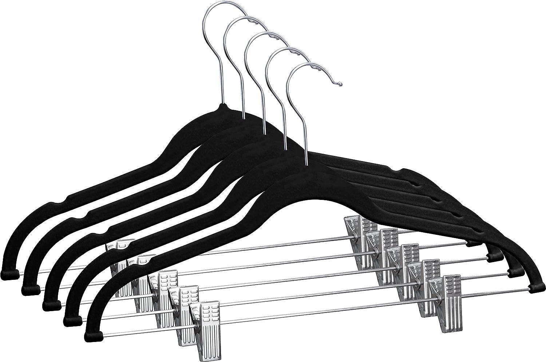 Non-Slip Pant Hangers ZOYER Velvet Clothes Hangers with Clips 12 Pack Velvet Skirt Hangers Black