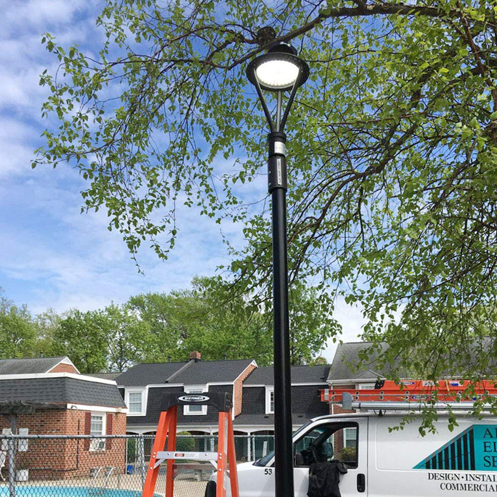 LED Post Top Outdoor Circle Area Light 50W Fixture 5000K 6500 Lumen Area Light Direct Wiring AC IP68 ETL DLC SAA 100-277V Pole Head