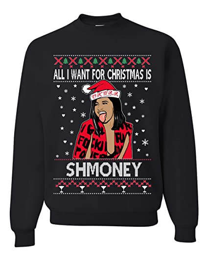 f01d650b35b New All I Want for Christmas is Shmoney Cardi B Ugly Christmas Sweater  Unisex Sweatshirt (