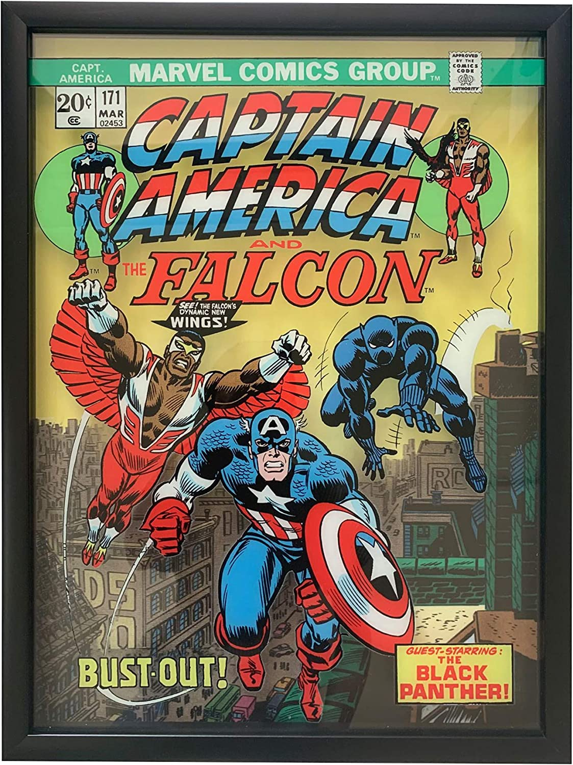 """Edge Home Products Marvel Framed Printed Glass Art, 15"""" x 20"""", Captain America & Falcon"""