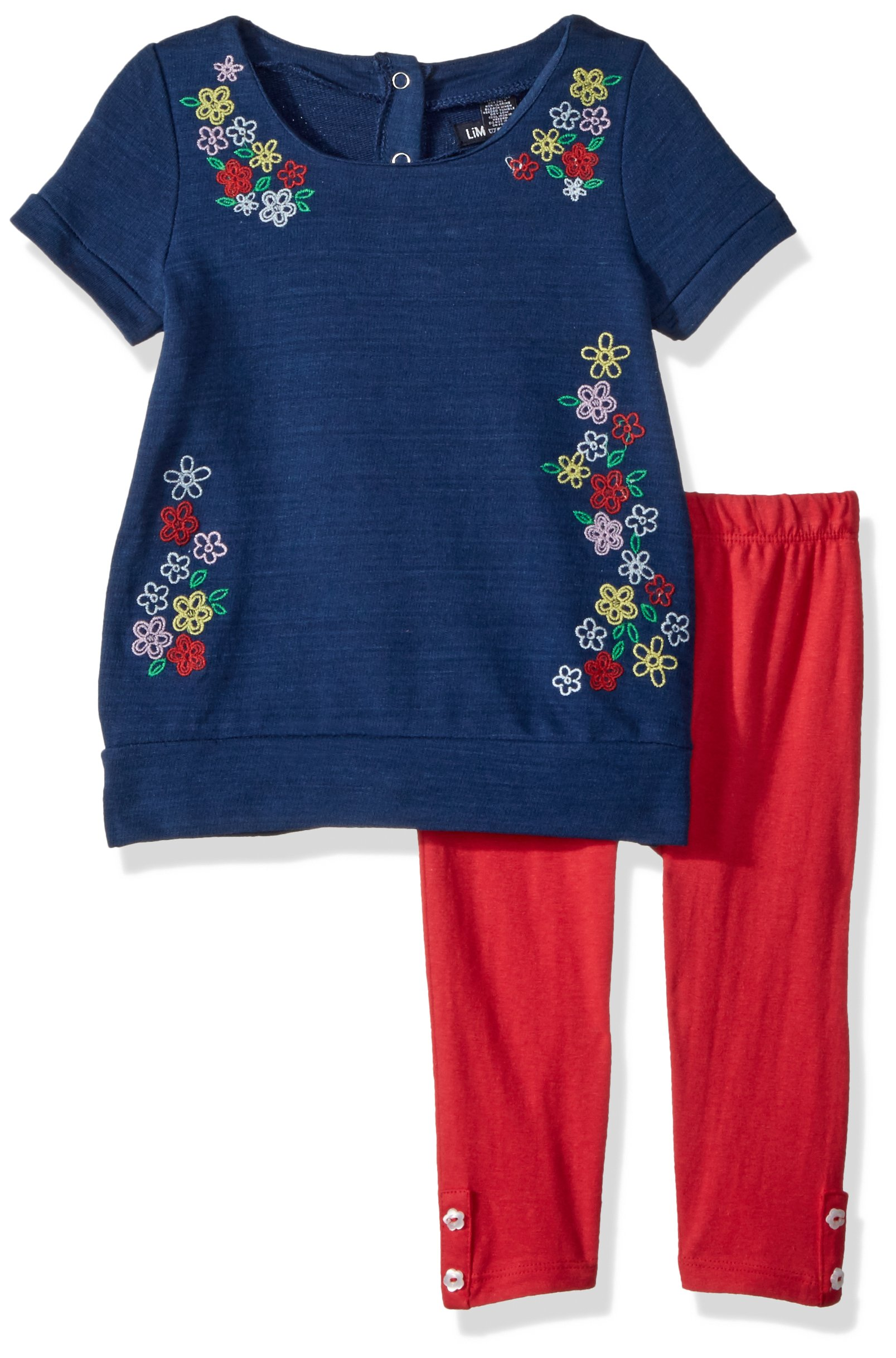 Limited Too Toddler Girls' Fashion Top and Legging Set, Cascading Flowers Engine Red, 4T