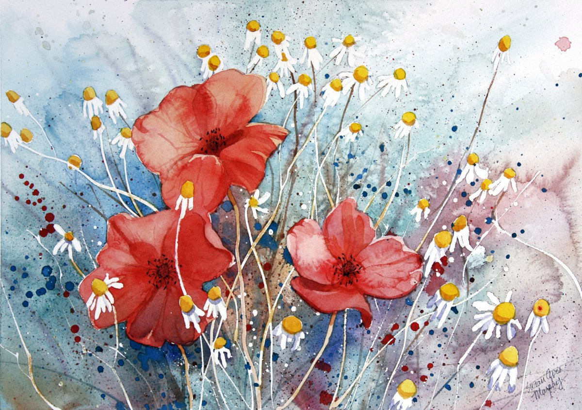 Amazon poppies of the field giclee print of watercolor flower amazon poppies of the field giclee print of watercolor flower picture showing red poppies and chamomile in a field in france 10 x 13 inches mightylinksfo Image collections