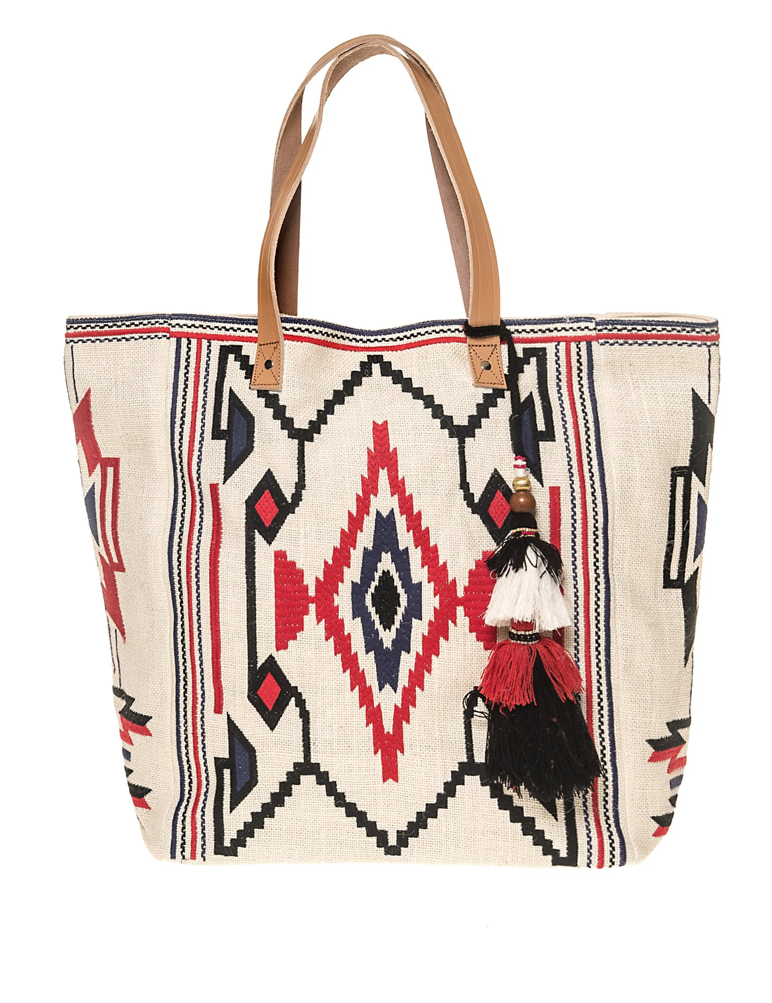 Star Mela Women's Totsi Emb Tote Women's Ivory Embroidered Bag