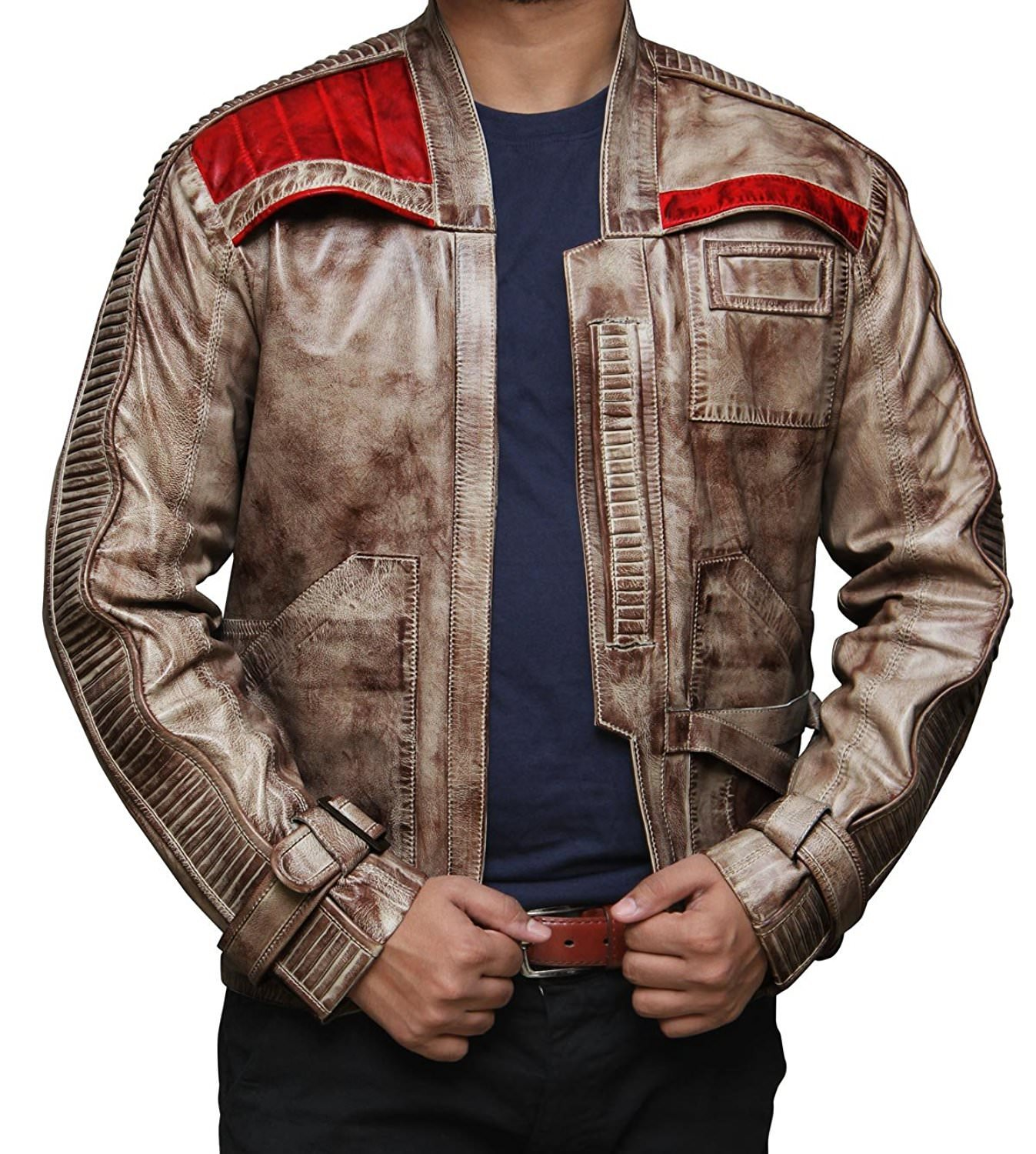Decrum Mens Leather Jacket - Finn Star Wars Jacket | Waxed Brown Finn, S