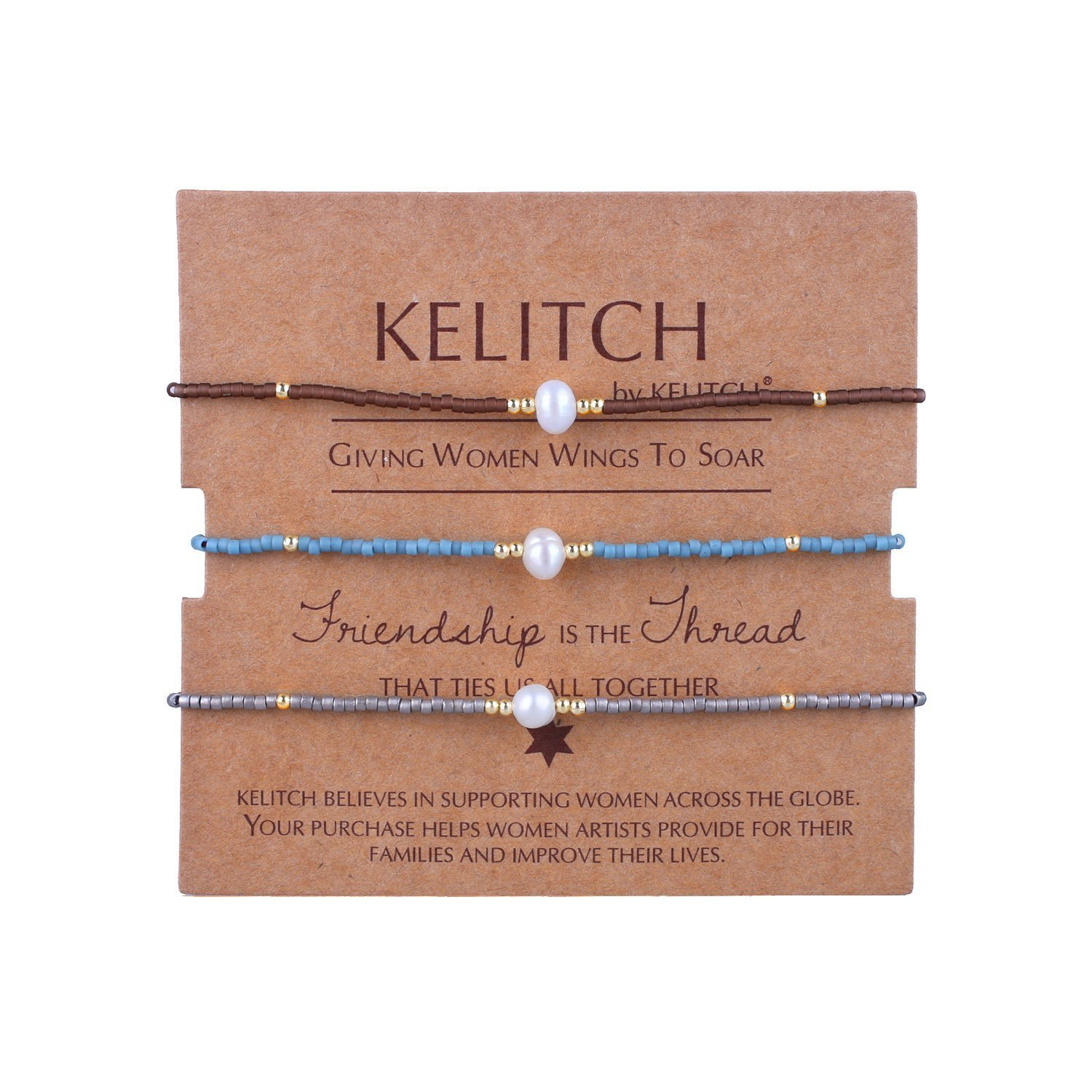 KELITCH 3 Pcs Shell Pearl Seed Beads Friendship Bracelets Handmade Adjustable String Bracelet