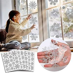 Hoshin 190 Pcs Christmas Window Clings Glitter Snowflake Window Decals for Glass Winter Xmas Navidad Decorations (Sliver)