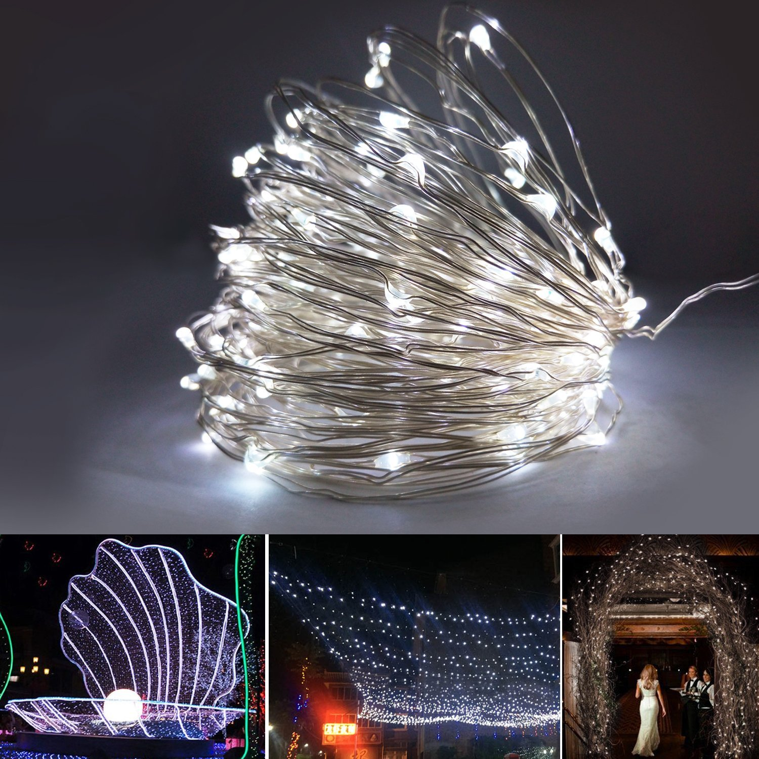 Copper String Lights Solar : Solar String Lights Luckled Starry 33ft 100LED Fairy Copper Wire Rope Lighting eBay